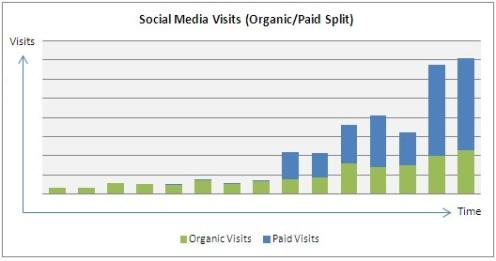 Increase in organic social visits alongside paid social ad visits